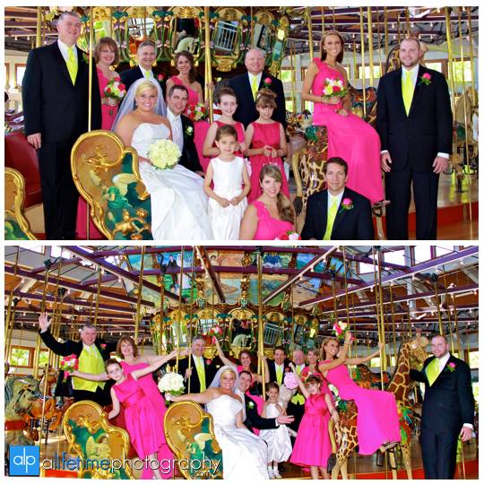 Chattanooga_TN_Wedding_Photographer_Coolidge_Park_Carosal_Merry_Go_Round_Carnival_Fair_Couple_Bridal_Party_fun_Pictures_Photos_Photography