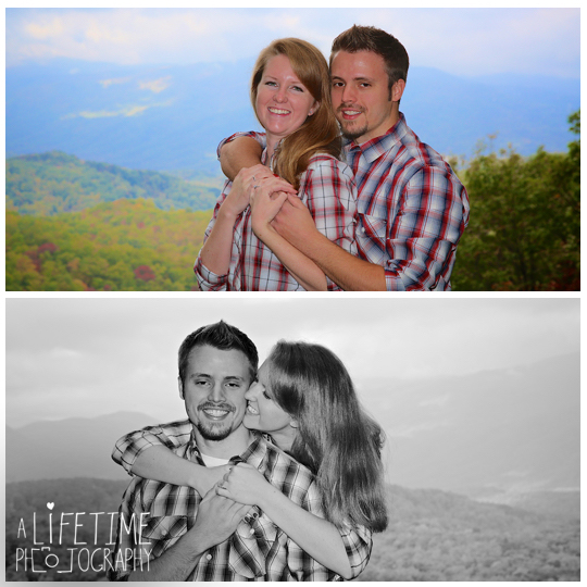 Gatlinburg TN Engagement Photographer session in the smoky mountains national park on Motor Nature Trail outside of Pigeon Forge Tennessee engaged couple