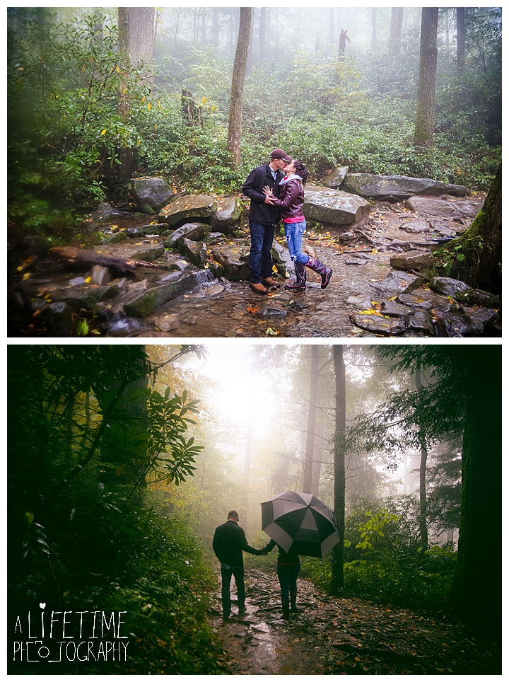Grotto Falls Waterfall marriage proposal hike secret photographer in Gatlinburg TN Smoky Mountains Pigeon Forge engagement photos