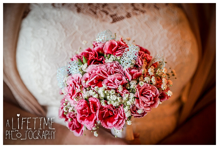 beautiful pink flower bouquet from Bride inside Wedding Bell Chapel in Pigeon Forge Tennessee