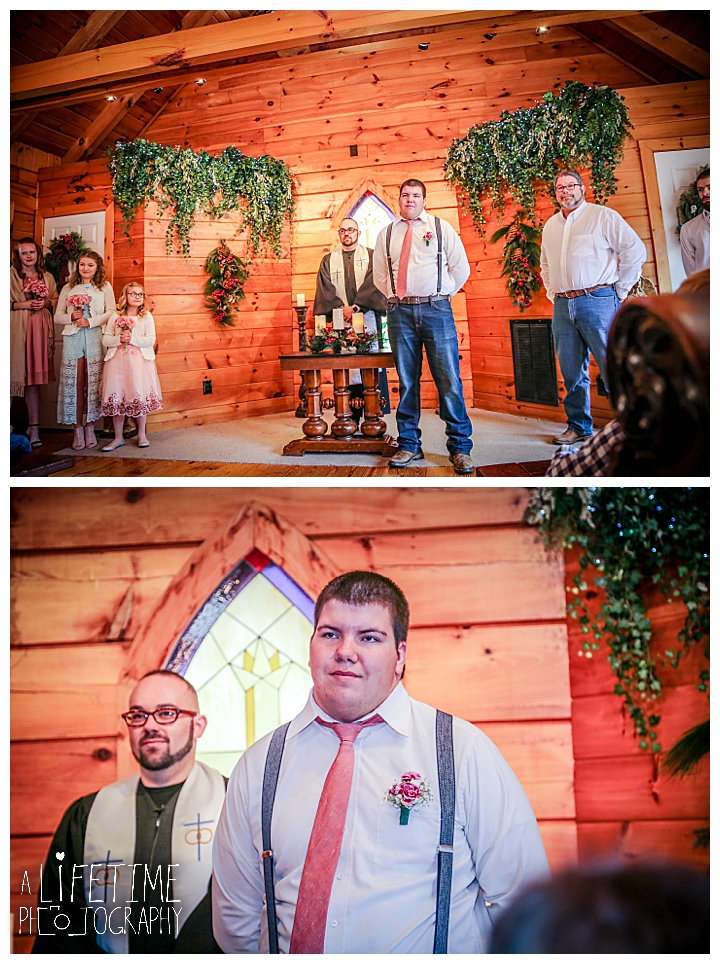 groom waiting for bride to walk down the aisle in Pigeon Forge Tennessee Wedding Bell Chapel