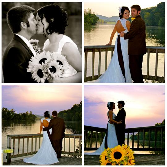 newlywed couple on wedding day on lake